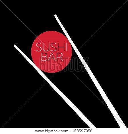 Sushi bar food logo template. Label for menu seafood, vector illustration