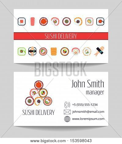 Sushi delivery business card both sides vector template. Design of asian food illustration
