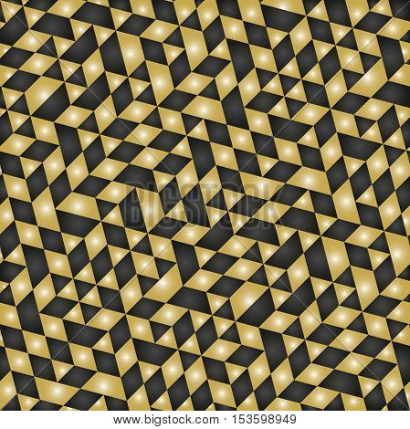Geometric pattern with triangles. Seamless abstract background. Black and golden pattern