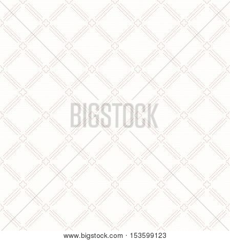 Geometric repeating ornament with diagonal dotted lines. Seamless abstract modern background. Light pink pattern