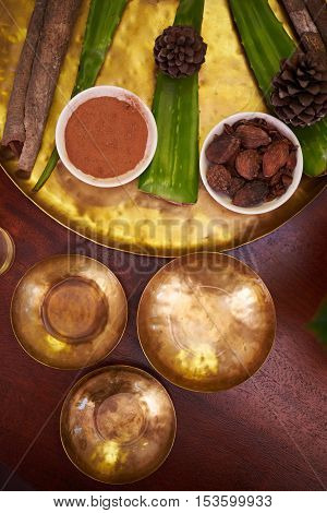 Different seasonings, plants, nuts for spa procedure