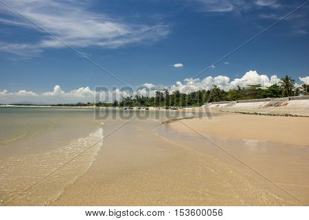 Beautiful beach in KeGa, Vietnam. sea and palm trees.