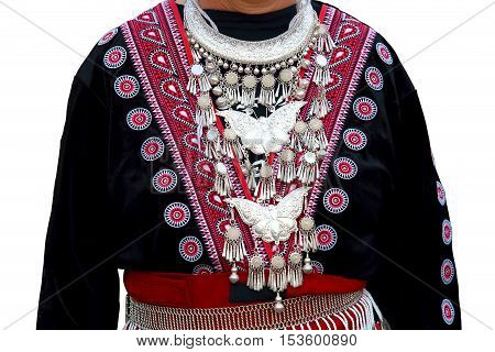 Costume of the tribe. Northern Thailand. Isolated white background.