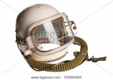 White russian soviet red army aviator helmet isolated on a white background