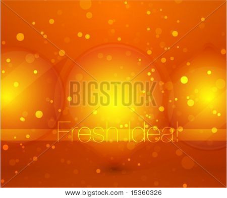 Orange glass light bulbs. Abstract shine background