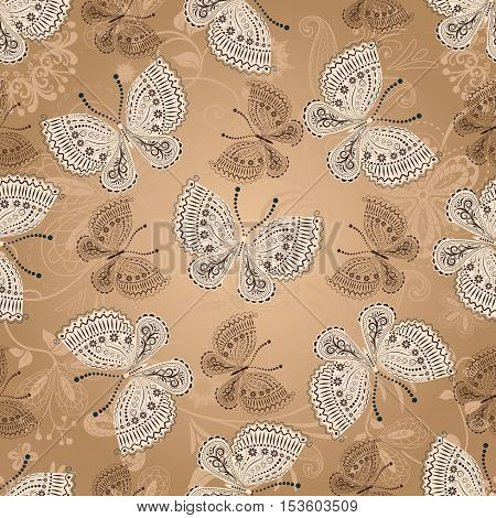 Seamless beige pattern with white and brown butterflies vector