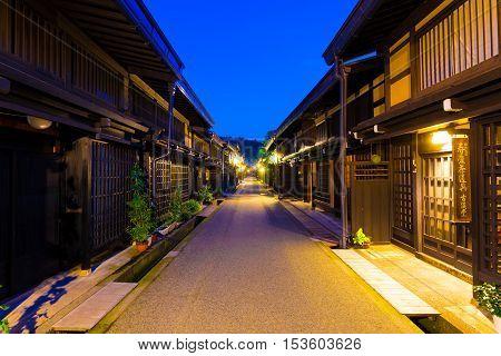Takayama Old Town Centered Street Buildings Dusk H