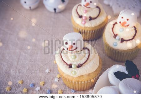 Fun Homemade Melting Snowman Cupcakes For Kids, Toning Copy Space Background