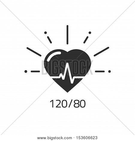 Good health vector icon, blood pressure numbers with heart pulse cardiogram, medical pulsometer logo element, heart beat label hospital equipment concept flat black and white design isolated