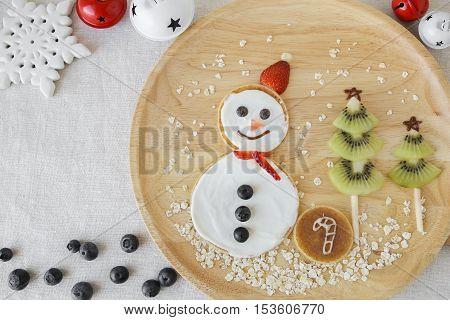 Snowman And Christmas Tree Pancake Breakfast, Fun Food Art For Kids