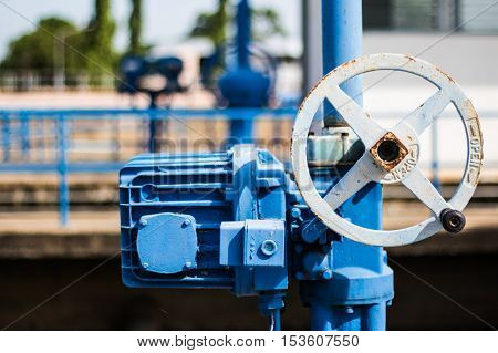 Blue valve at water treatment plant, Electric control valve