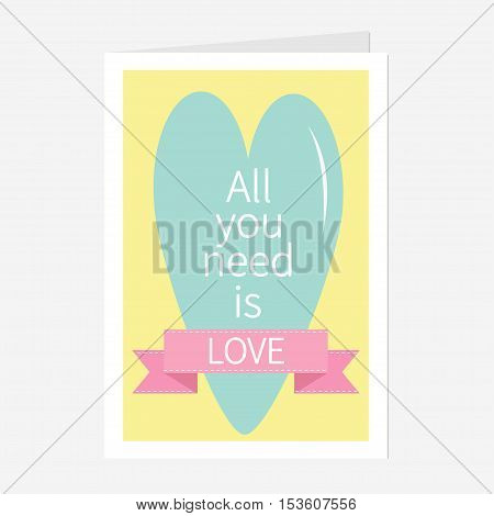 'All You Need is Love' Lettering with heart and pink ribbon. Print poster greeting card. Flat design. Vector Illustration