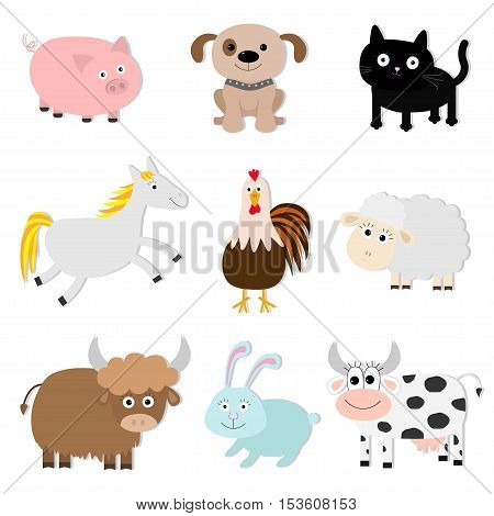 Farm animal set. Pig cat cow dog rabbit ship horse rooster bull Baby collection. Flat design style. Isolated White background Vector illustration