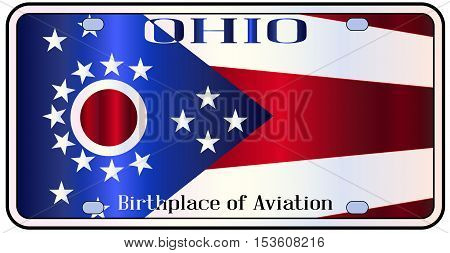 Ohio state license plate in the colors of the state flag with icons over a white background