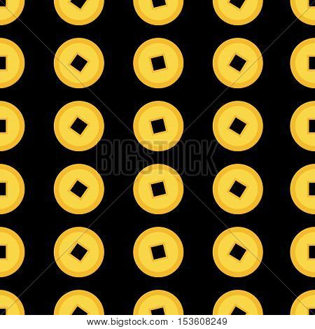 Chinese coin set. Seamless Pattern China gold money square centre. Golden coin with hole. Happy New Year symbol atribute. Black background. Flat design. Vector illustration.