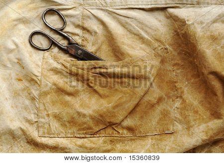 Vintage scissors in pocket