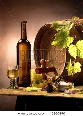 Still-life with white wine, a cask, grapes and a pipe