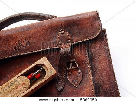 Vintage schoolbag - detail, isolated