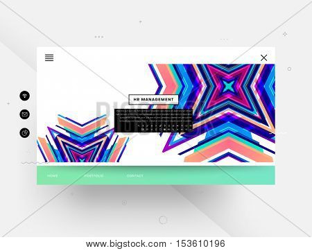 Website template with geometric background - vector illustration