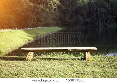 chair for relaxation in the lake park