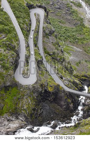 Norwegian mountain road. Trollstigen. Stigfossen waterfall. Norway tourist landscape valley.