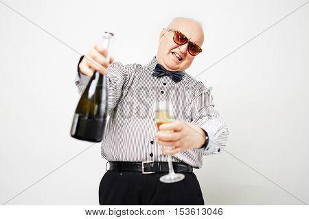Ecstatic pensioner