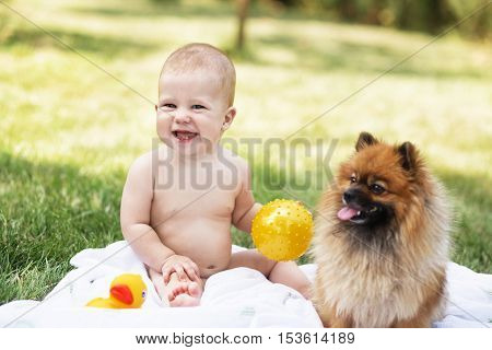 Beautiful Baby With Pomeranian Spitz Against Green Nature Background Outdoors