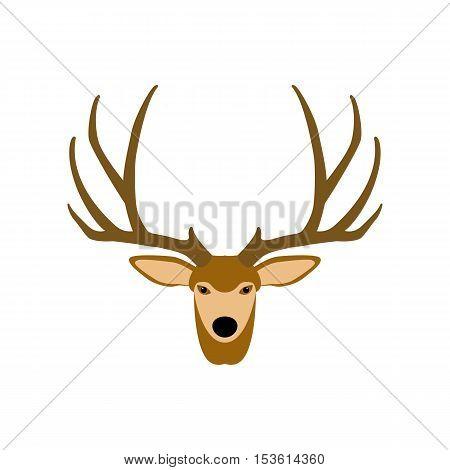 deer head vector illustration  style flat side