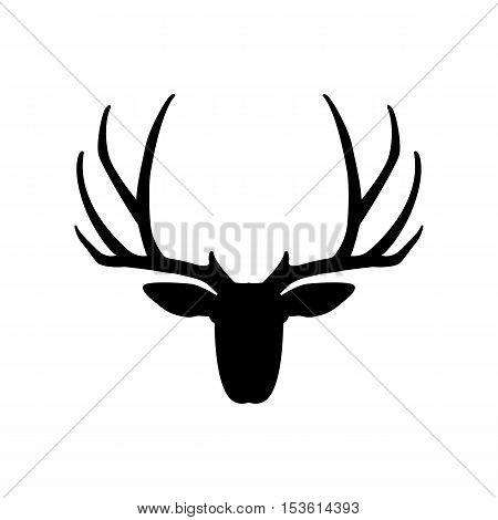 deer head vector illustration   black silhouette side