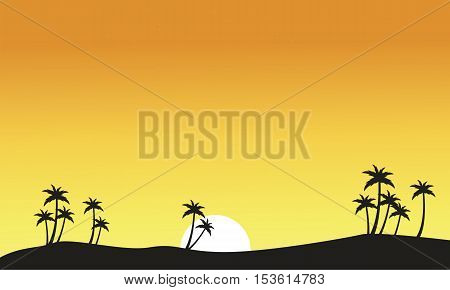 Silhouette of palm on seaside scenery vector art