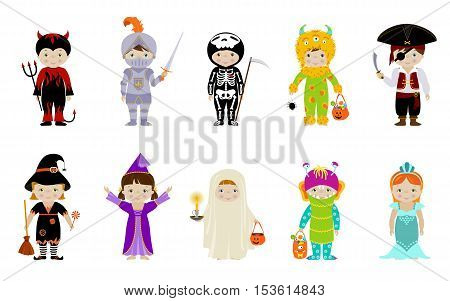 Big collection of cute little kids in halloween costumes of witch, skeleton, devil, ghost, monster, fairy and pirate with halloween accessories like sweets pumpkin bag, broom, spider.
