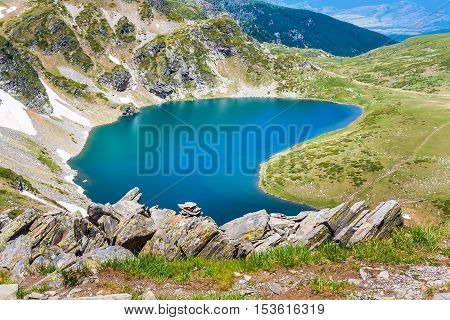 Aerial view of Babreka lake - one of the Seven Rila Lakes, Bulgaria
