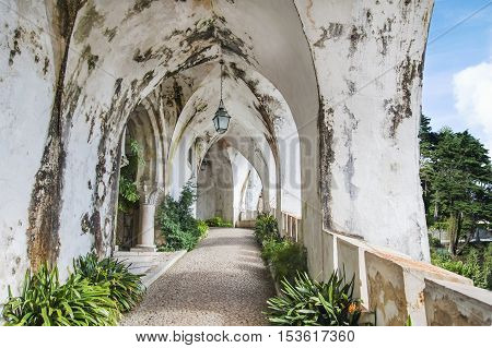 Moldy old castle vaults in Portugal .