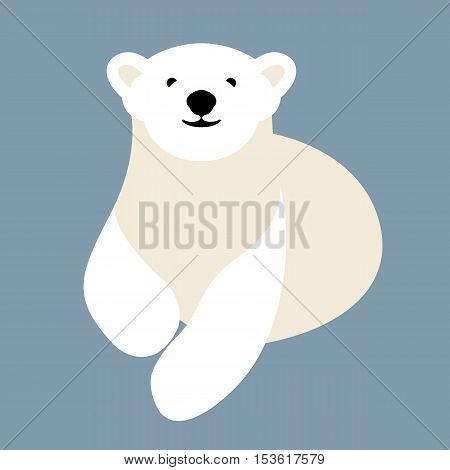 Polar bear young style vector illustration Flat