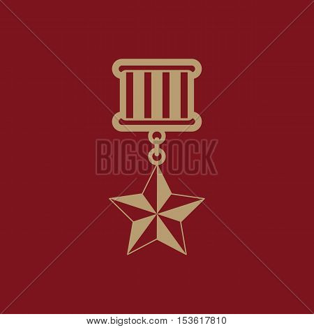 The medal icon. honor symbol. Flat Vector illustration
