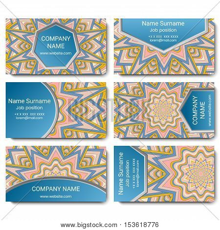 Set of vector visiting card with mandala. Geometric mandala pink and blue pattern and ornaments. Front page and back page.
