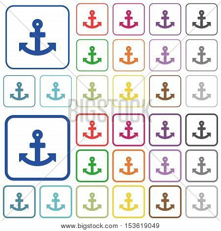 Anchor color icons in flat rounded square frames. Thin and thick versions included.