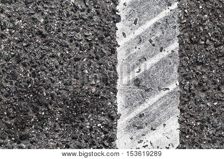 Dividing Line With Tire Track, Close Up