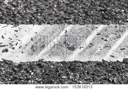 White Dividing Line With Tire Tracks