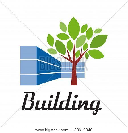 Vector sign building with tree, isolated illustration