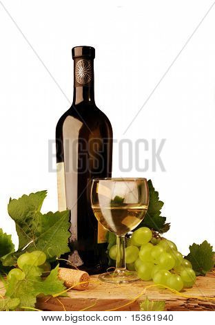 White wine composition, isolated on white background