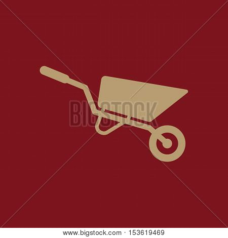 The wheelbarrow icon. Barrow symbol. Flat Vector illustration