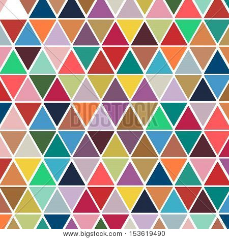 Vintage geometric background colorful triangles in sequence