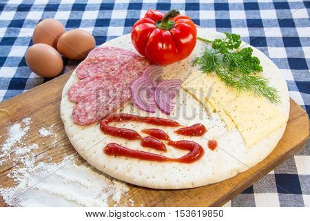 Various ingredients for making pizza dough, background for food