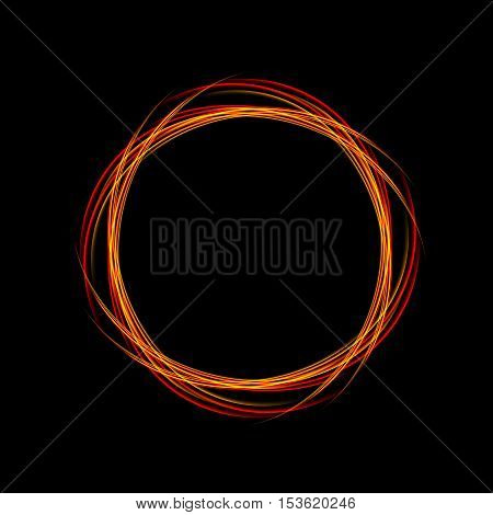 Energy frame. Shining circle banner. Magic orange  light neon energy circle. Glowing fire ring trace