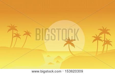 Seaside and fog landscape of silhouettes vector illustration