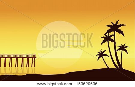 Silhouette of beach with pier scenery vector illustration