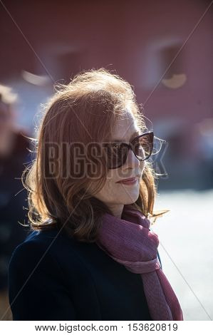 Saint-Petersburg Russia - September 25 2016: The famous French actress Isabelle Huppert on Film Festival