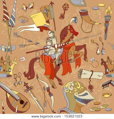 Medieval seamless pattern knight on horse legendary armored knight warrior ancient weapons hand drawn vector illustration