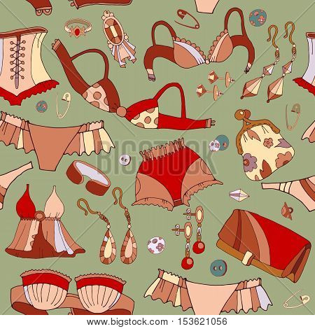 Woman underwear seamless pattern. Fashion accessories jewelry woman shopping background vector